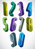 3d extra tall numbers set in blue and green colors made with rou. Nd shapes, colorful glossy numerals for advertising and web design Stock Images