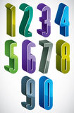 3d extra tall numbers set in blue and green colors made with rou. Nd shapes, colorful glossy numerals for advertising and web design Royalty Free Stock Photo