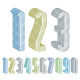 3d extra tall numbers set with lines textures. Royalty Free Stock Images