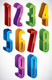 3d extra tall numbers set made with round shapes. Stock Images