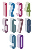 3d extra tall numbers set made with round shapes. Royalty Free Stock Images