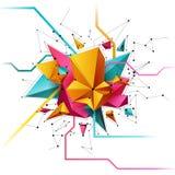 3D extrahieren Gitterhintergrund mit Dreieck-, Linien- und Formplandesign für Ihr Geschäft Stockbild