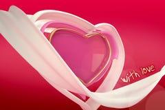 3d extrahieren Herz der Liebe auf dem Steigungshintergrund stock abbildung