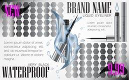 3d eyeliner pióra realistyczny wektor w srebnej skrzynce z wodnymi splas Zdjęcia Royalty Free