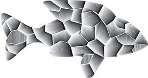 3D färbt vom Grau Einsame Fische stock abbildung