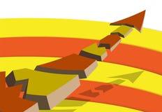 3d färbte den Pfeil, gebrochen in die Stücke und flog über die farbigen Sektoren lizenzfreie abbildung