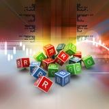 3D färgad kub av RGB-alfabetet Fotografering för Bildbyråer
