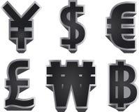 3d färgade för hög symboler för upplösning illustrationbild för valuta mång- Royaltyfri Foto