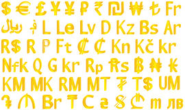 3d färgade för hög symboler för upplösning illustrationbild för valuta mång- Royaltyfria Bilder