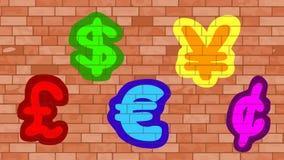 3d färgade för hög symboler för upplösning illustrationbild för valuta mång- Royaltyfri Bild