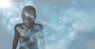 3D fêmea preta AI com nuvens e fundo azul com alargamento Imagem de Stock