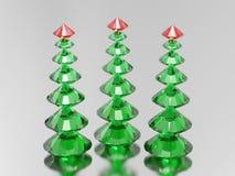 3D för diamantjul för illustration tre gröna träd med ett rött s Arkivbild