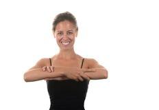 d f表面重点前面递o浅舒展的妇女 免版税库存照片
