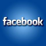 在蓝色背景的3D Facebook 免版税库存图片
