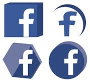 3D Facebook Logo Set Royalty-vrije Stock Afbeelding