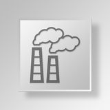 3D Factory Button Icon Concept Royalty Free Stock Image