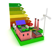 3d Factory energy efficiency with windmill, solar panel and scale energy efficiency. Stock Photo