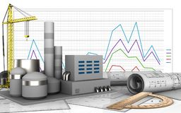 3d of factory. 3d illustration of factory with crane over business graph background Royalty Free Stock Images
