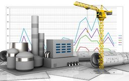 3d of factory. 3d illustration of factory over business graph background Royalty Free Stock Photo