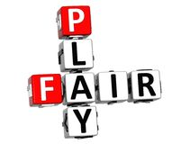 3D Fair Play Crossword text. On white background Royalty Free Stock Photos