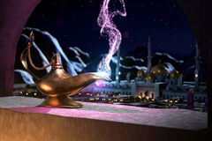 3D fairytale of magic lamp Royalty Free Stock Photography