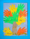 3D fall autumn tree from multicolored paper and cardboard. Creative felt application projects for kids. Fun educational activities. For children. Crafts; slime royalty free stock photography