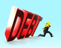 3D falling DEBT word with running man carrying money. 3D falling DEBT word with running man carrying golden Euro symbol money, financial debt concept Stock Photos