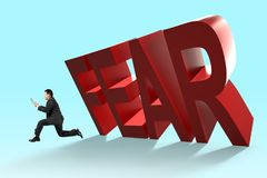 3D falling FEAR word with running man. Concept of stress and fear at work Stock Photography