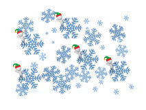 3D Falling Snowflakes with Small 3D Characters Royalty Free Stock Photography