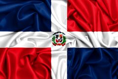 3d falowania flaga republika dominikańska ilustracja wektor