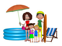 3d Family on beach vacation Stock Photography