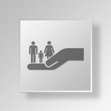 3D Family Care icon Business Concept. 3D Symbol Gray Square Family Care icon Business Concept Royalty Free Stock Images