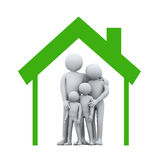 3d family in house symbol Stock Images
