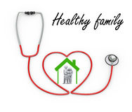3d family in stethoscope house symbol. 3d illustration of stethoscope design concept of healthy family.  3d rendering of people - human character and family love Stock Images