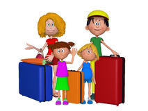 3d family travelling. Isolated on the white background Royalty Free Stock Images