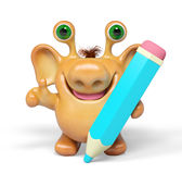 3d fantasy cartoon monster with big pencil isolated rendering Stock Photography