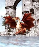 3d Fantasy dragon in mythical island. Fantasy fairy tale of sea monster, 3d rendering for book cover or book illustration stock illustration
