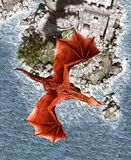 3d Fantasy dragon in mythical island. Fantasy fairy tale of sea monster,3d rendering for book cover or book illustration stock illustration