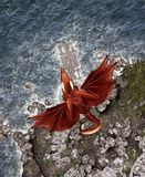 3d Fantasy dragon in mythical island. Fantasy fairy tale of sea monster,3d rendering for book cover or book illustration vector illustration