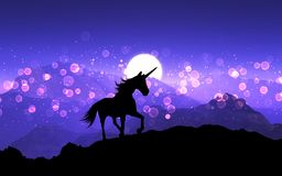 3D fantasy unicorn on a mountain landscape with purple sunset sk. 3D render of a fantasy unicorn on a mountain landscape with purple sunset sky Royalty Free Illustration