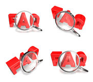 3D FAQ and magnifying glass icon. 3D Icon Design Series. Stock Image