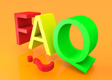 3D faq text Royalty Free Stock Photo