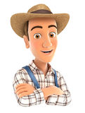 3d farmer with arms crossed Royalty Free Stock Photography
