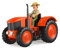 3D Farmer driving a tractor Royalty Free Stock Images