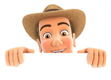 3d farmer hiding behind white wall Royalty Free Stock Image