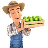 3d farmer holding crate of apples. Illustration with isolated white background Royalty Free Stock Photography