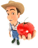 3d farmer holding a fresh tomato Royalty Free Stock Images