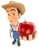 3d farmer holding red apple. Illustration with  white background Royalty Free Stock Image
