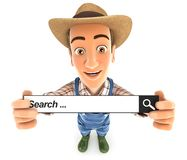 3d farmer holding a search bar Stock Images