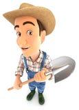 3d farmer holding a shovel. Illustration with white background royalty free illustration